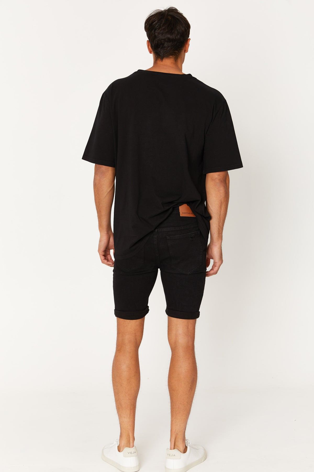 NTH Distress Denim Short Solid Black