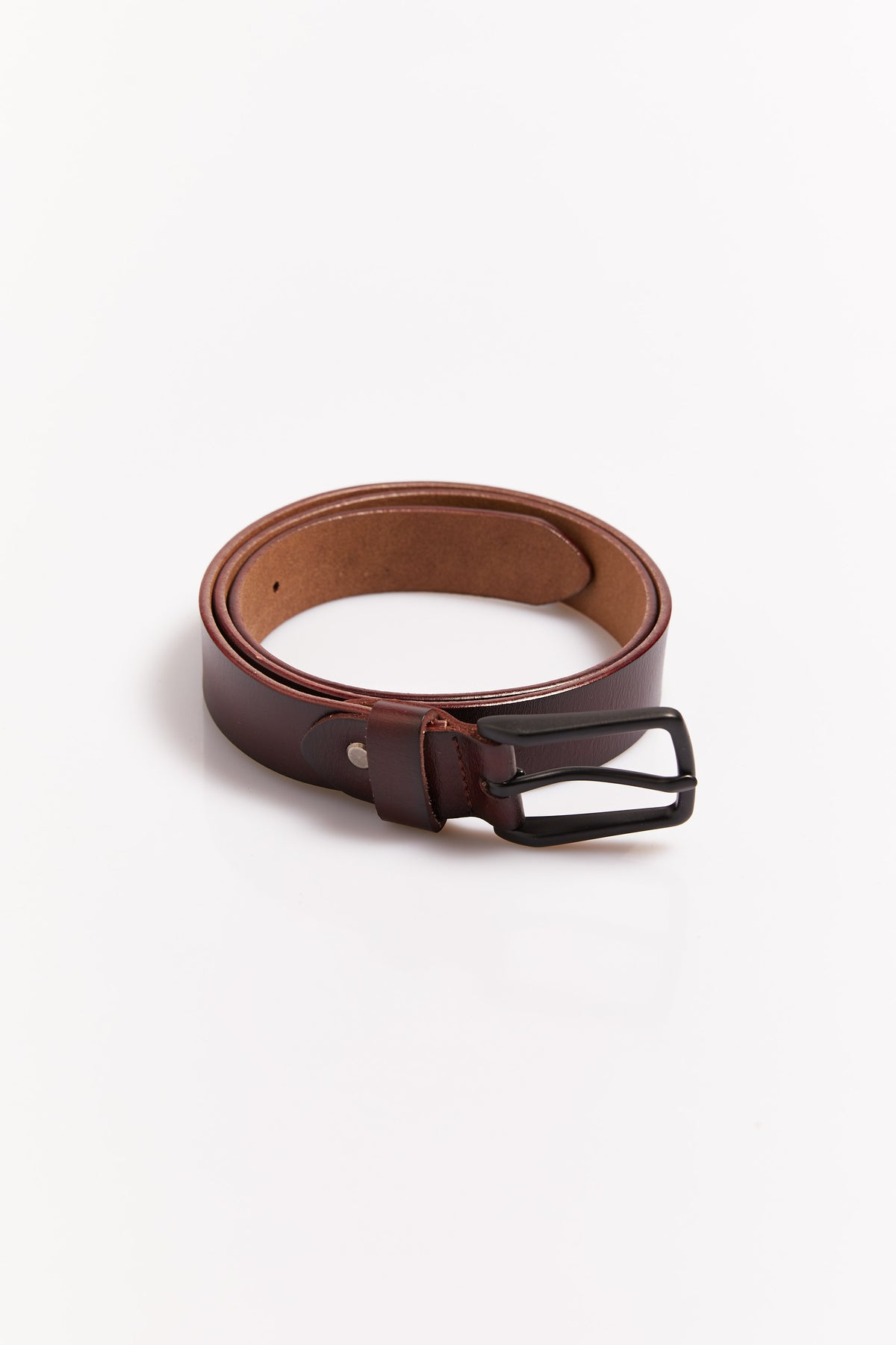 Mens Basic Leather Belt Dark Brown
