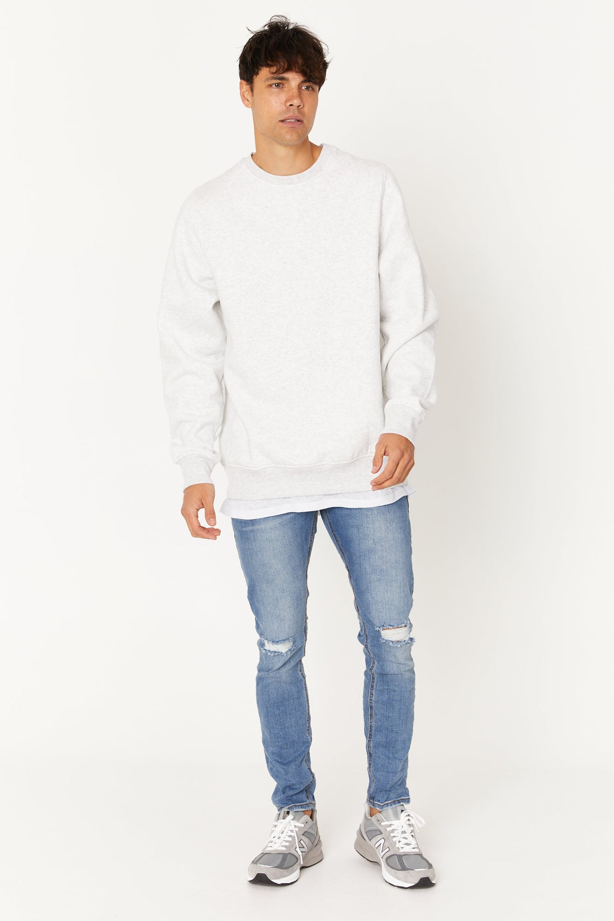 Washed Sweater White Marble