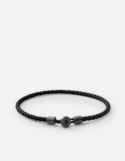Miansai Nexus Leather Bracelet Matte Black