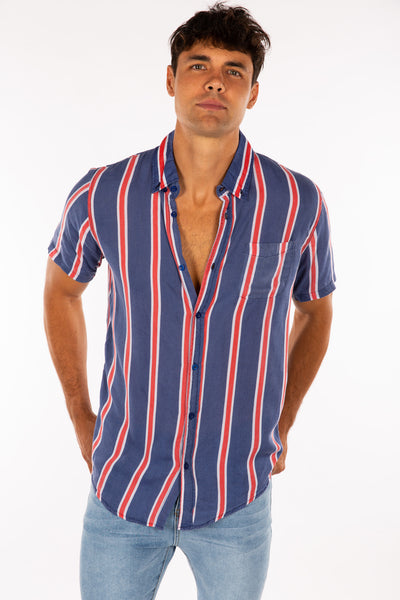 Jack Boating Stripe Shirt Red/Navy