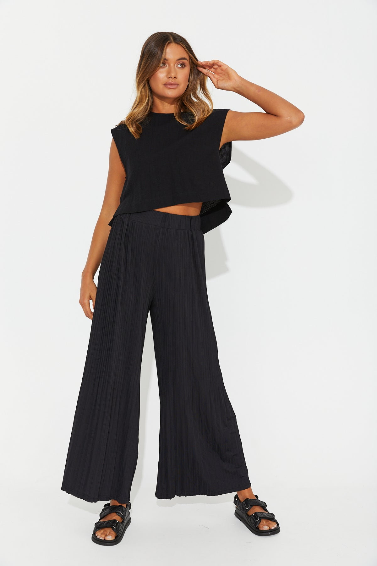 Skylar Pleated Pant Black