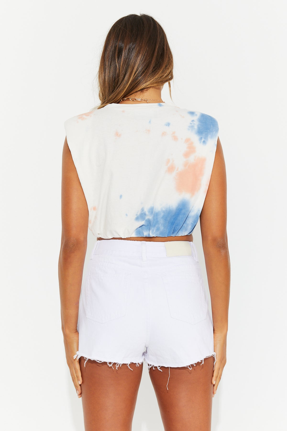 Katie Cropped Tank Orange Tie Dye
