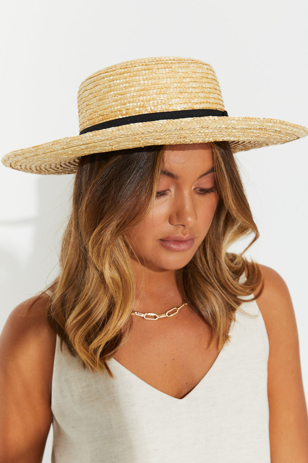 Haylie Ribbon Trim Boater Hat Natural