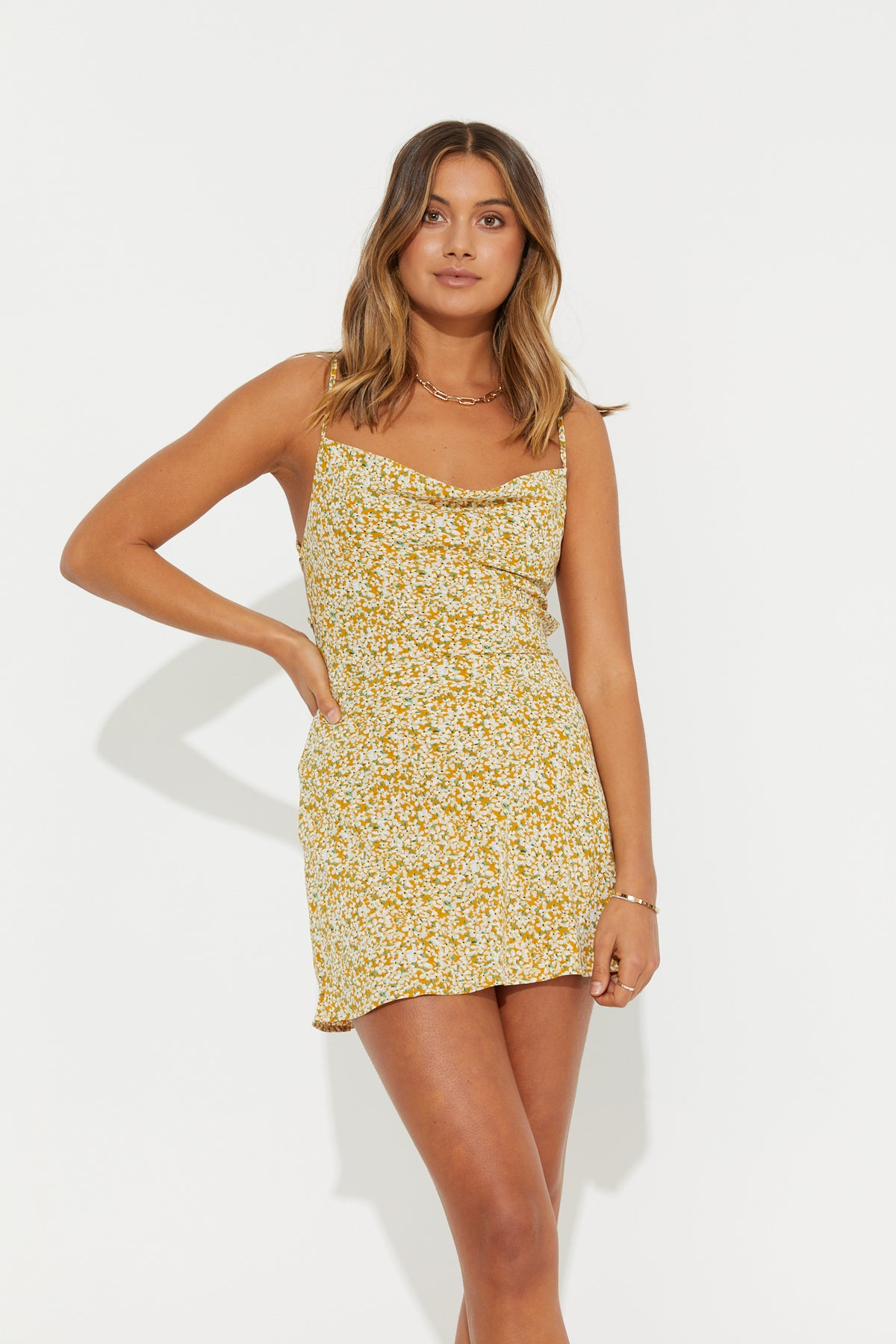 Aurora Mini Dress Mustard