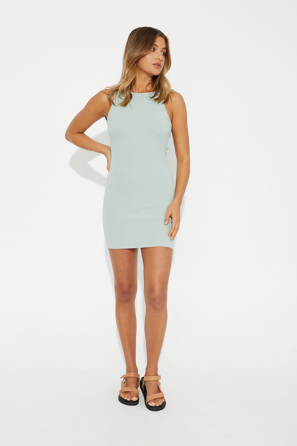 Remi Ribbed Dress Mint
