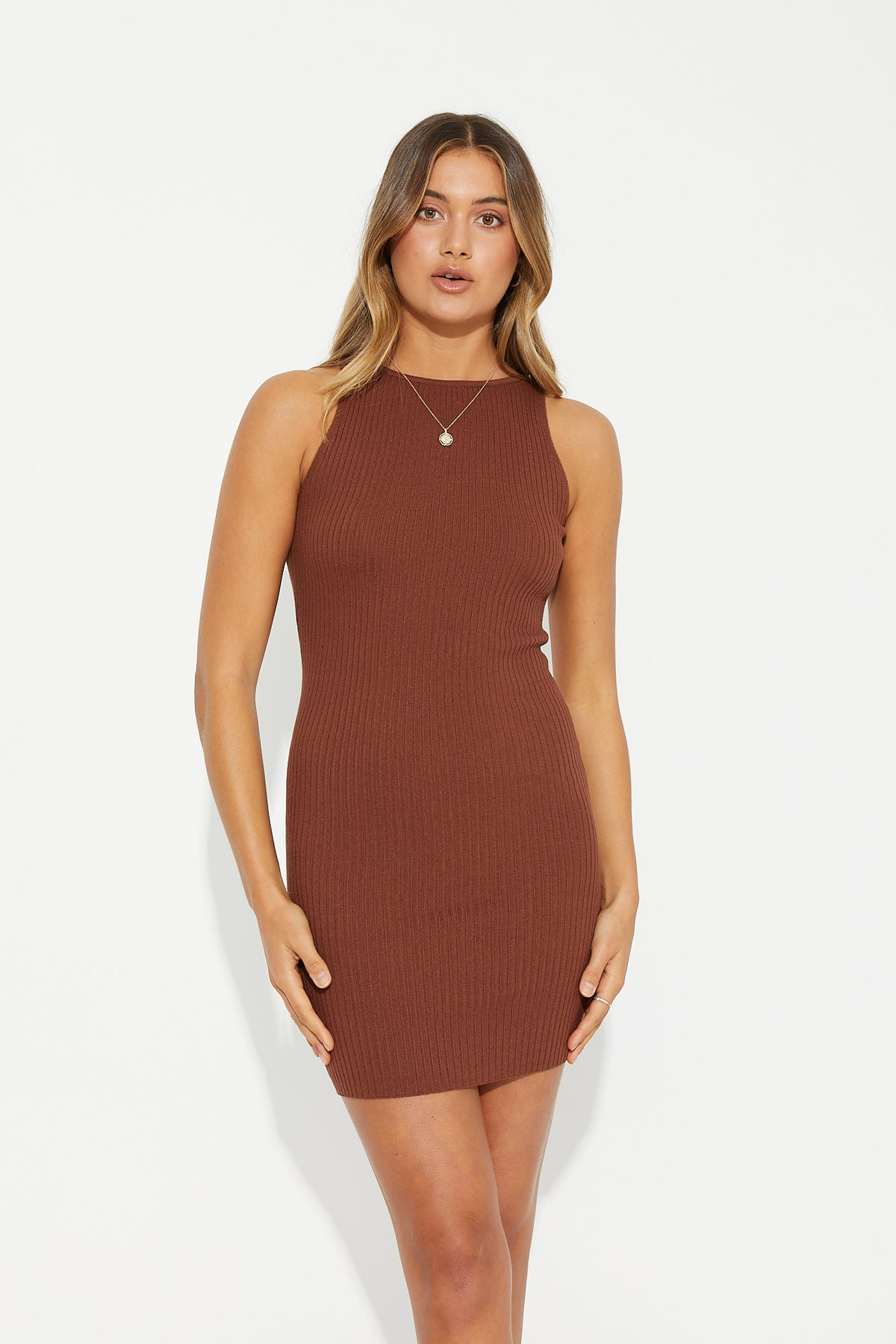 Gracie Ribbed Dress Rust