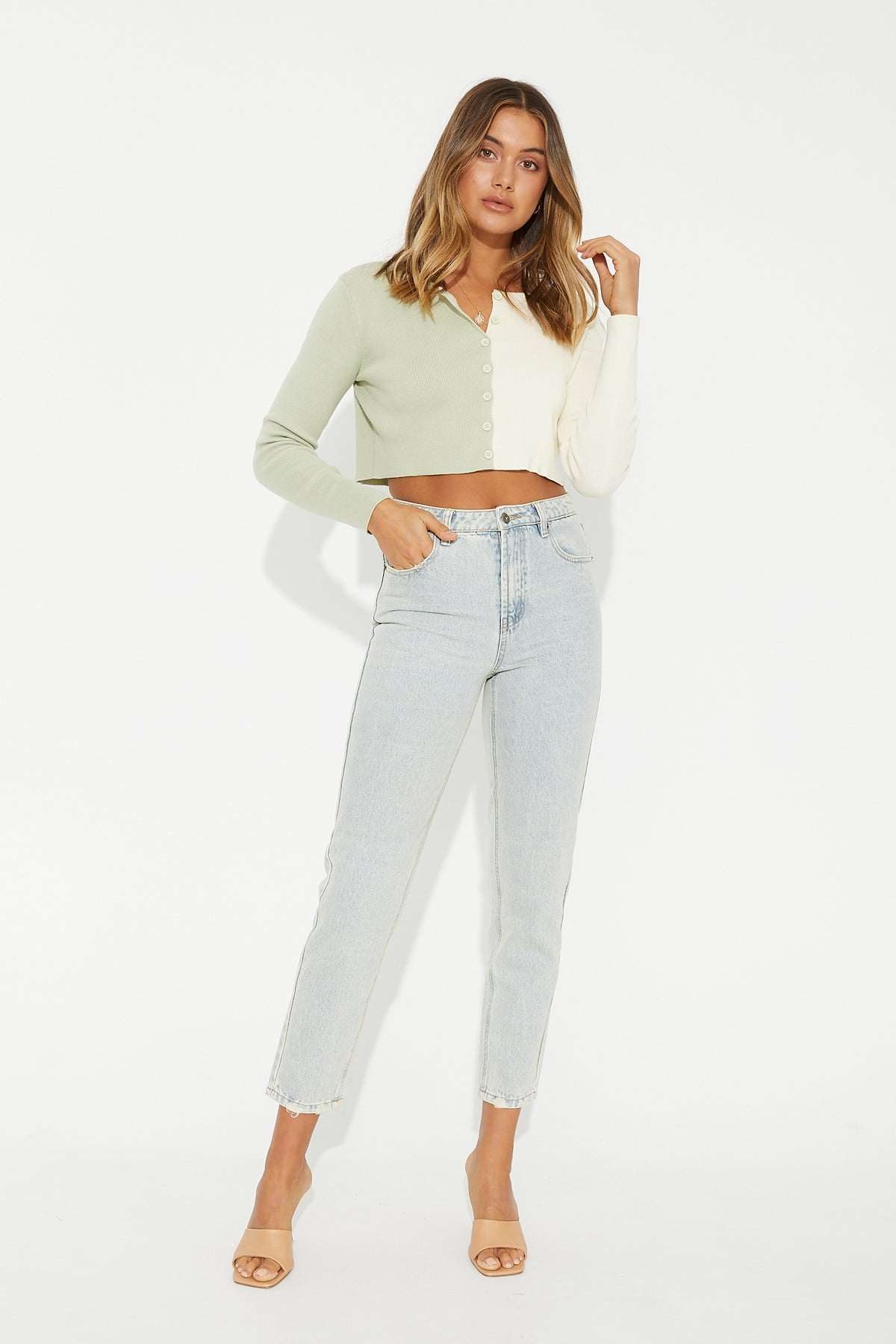 Riley Two Tone Cardi Mint