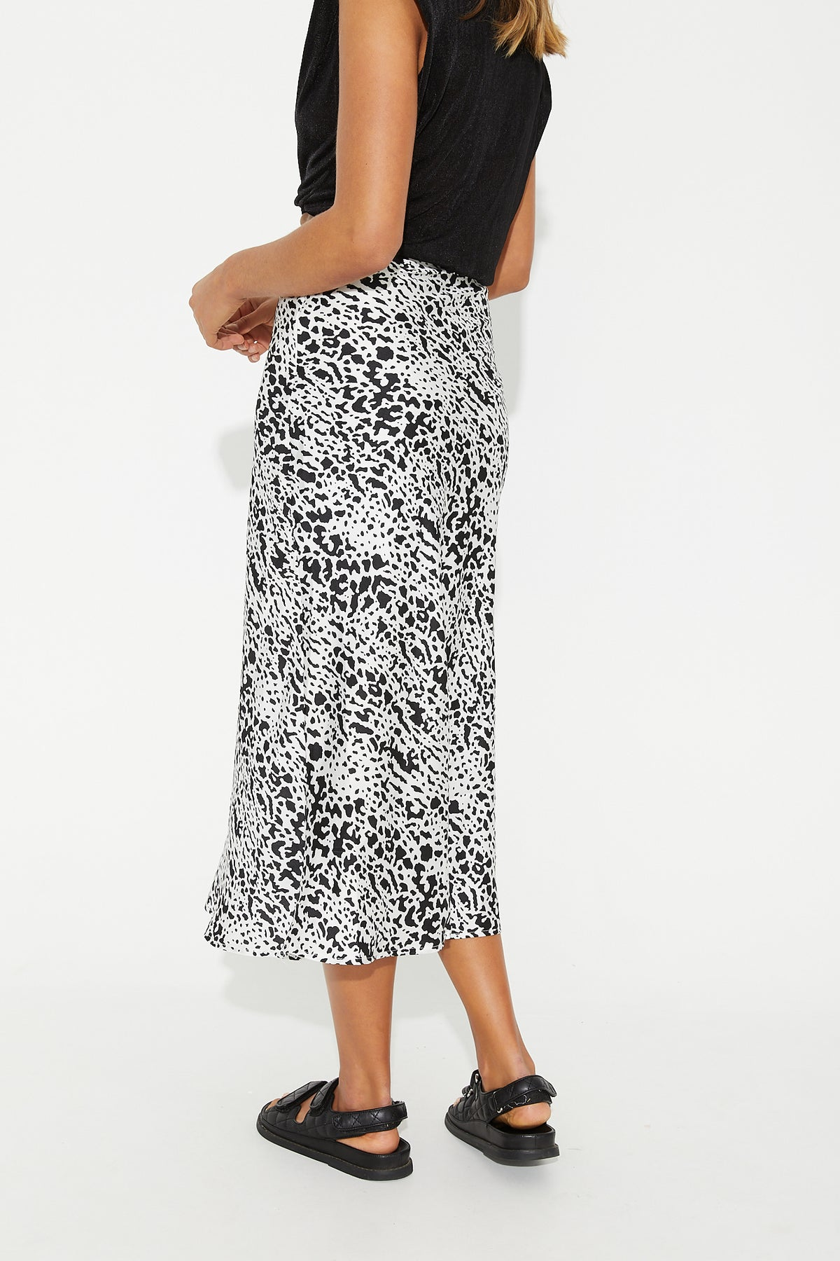 Alix Midi Skirt Black Print
