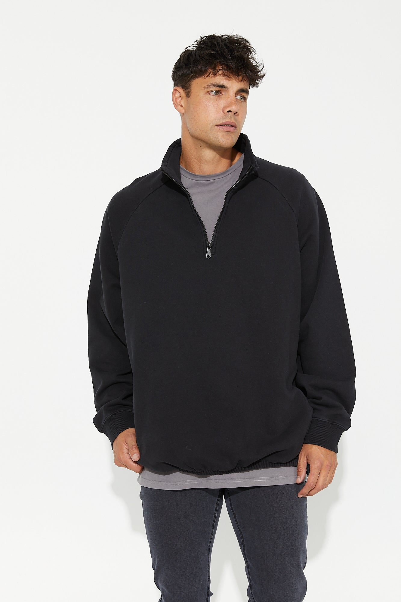 Frank Fleece Quarter Wash Black