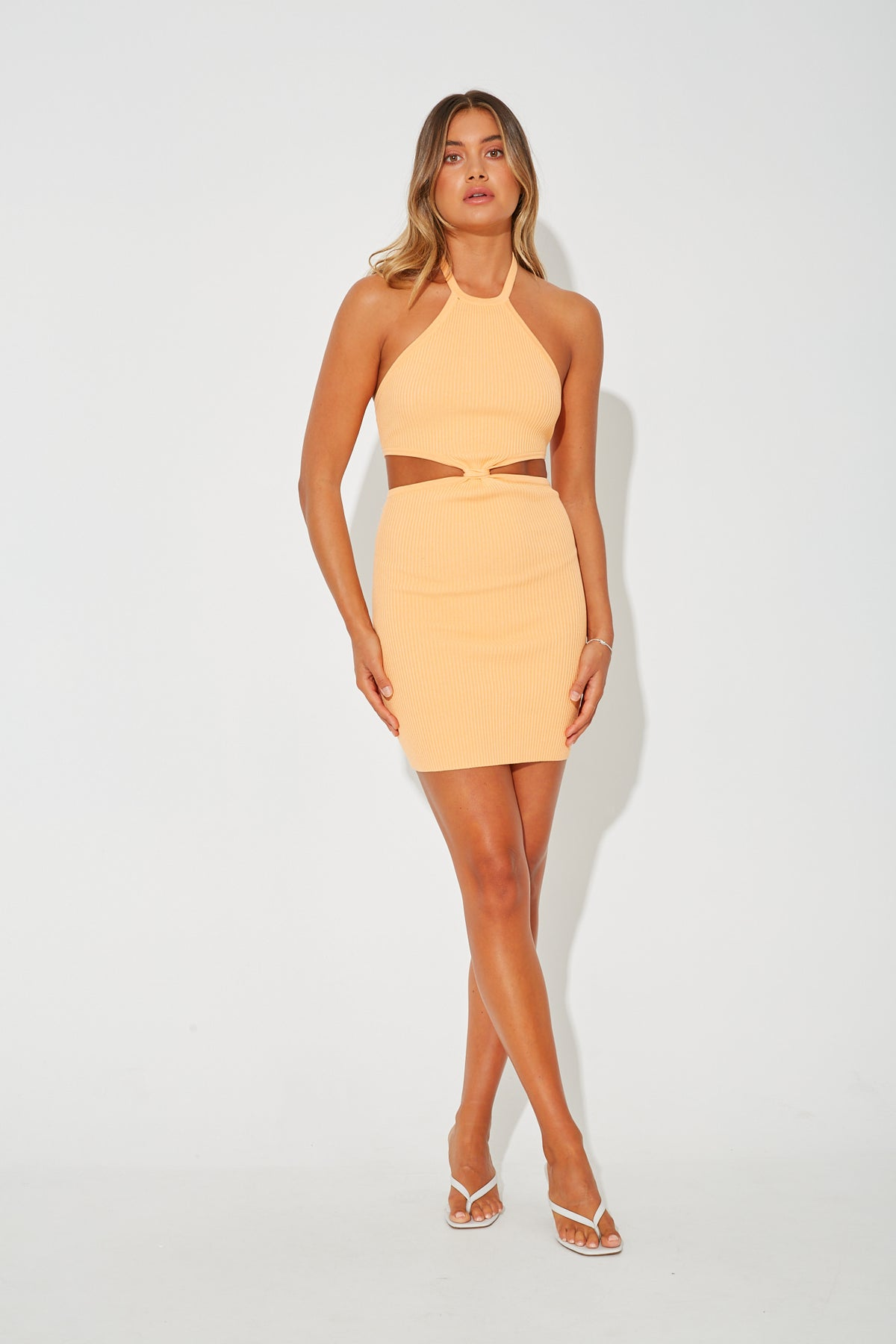 Adele Ribbed Dress Tangerine