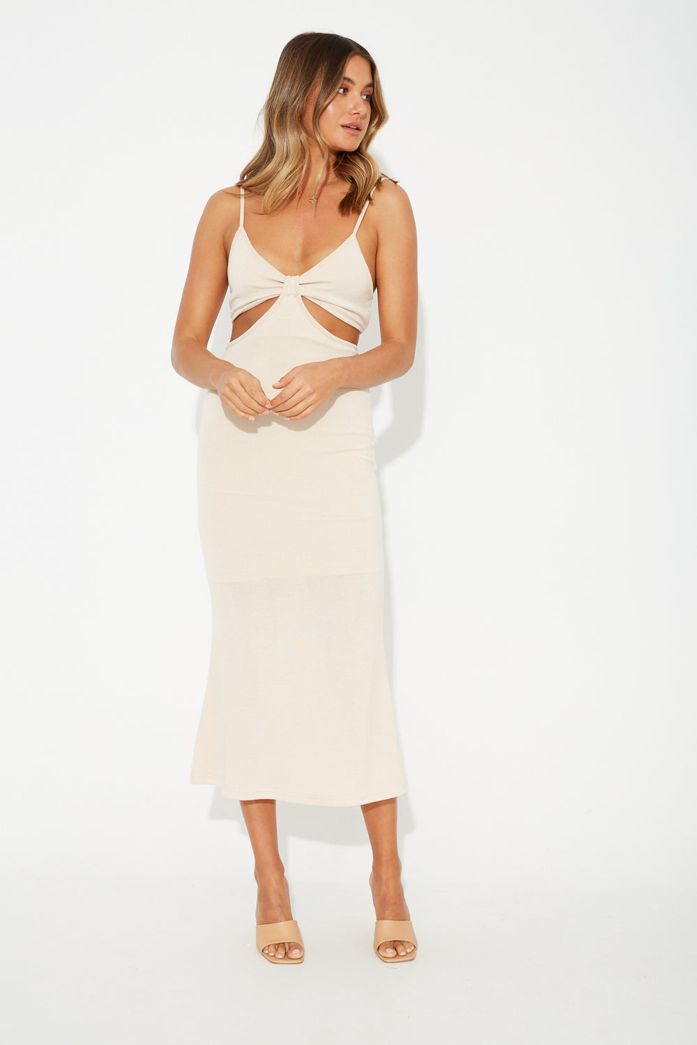 Quinn Cut Out Dress Sand