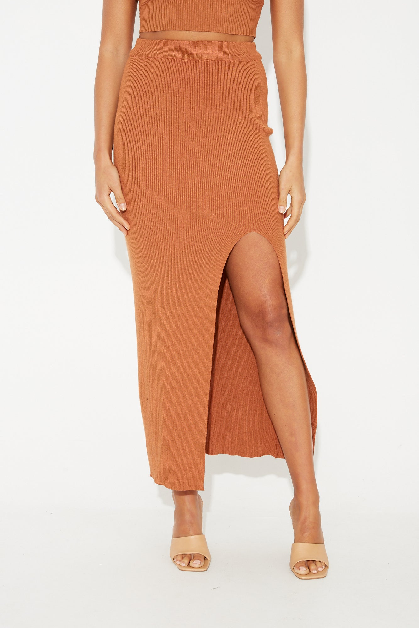 Tuscany Ribbed Skirt Rust