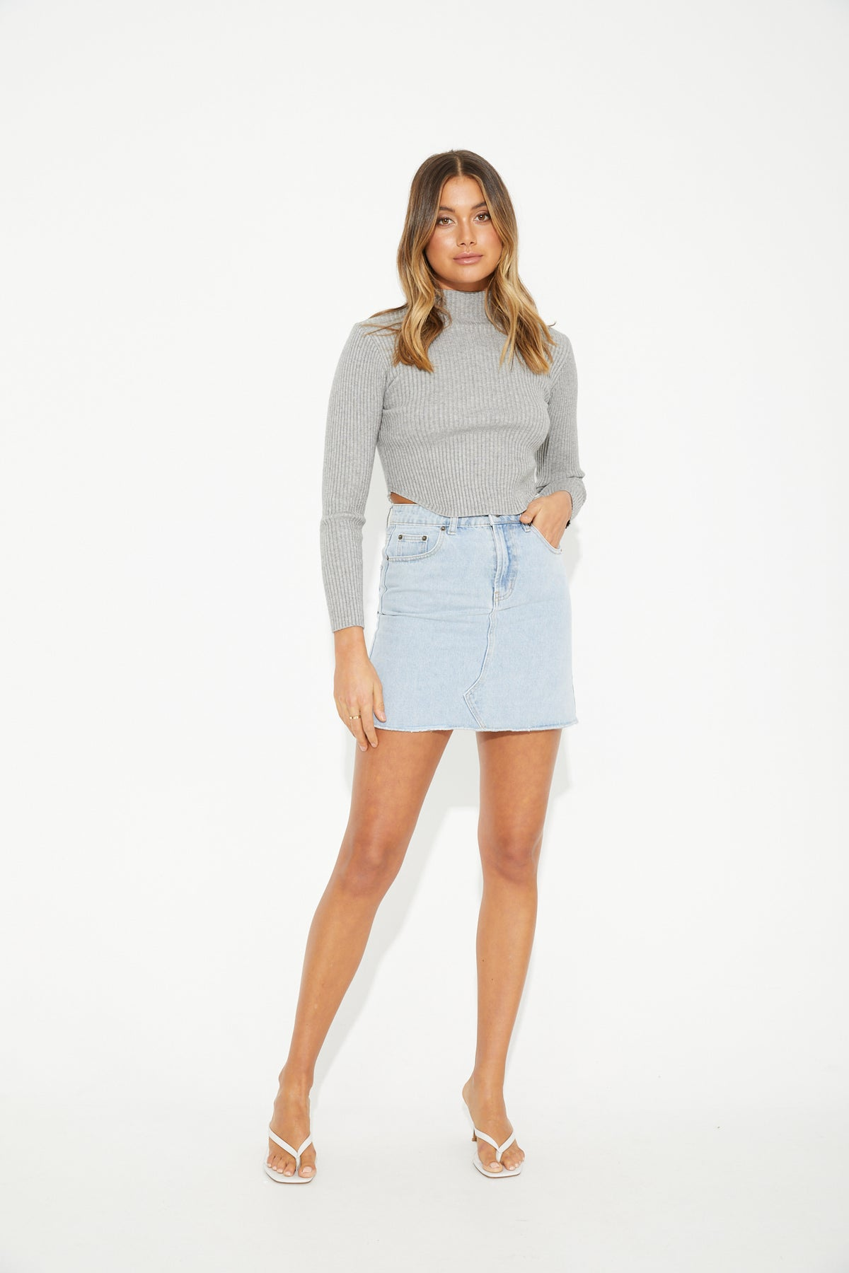 Alexa Ribbed Knit Grey
