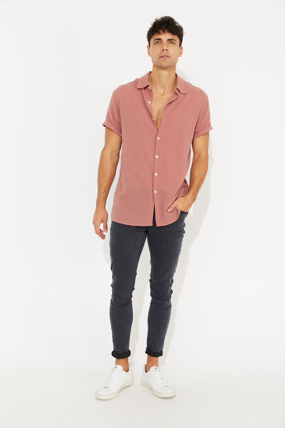 Hudson Short Sleeve Shirt Salmon