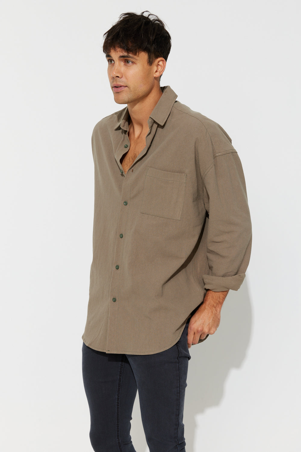 Oversize Soft Cotton Shirt Khaki
