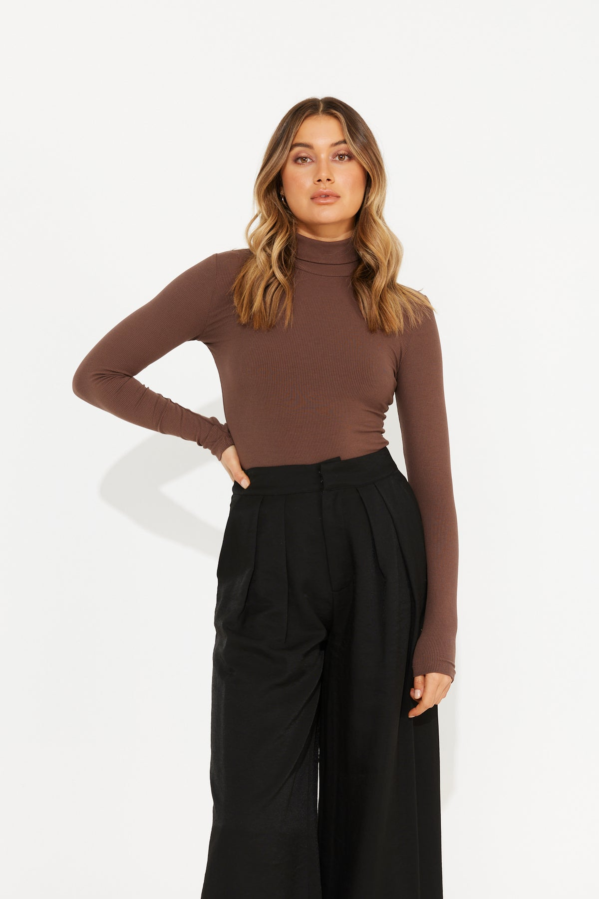 Turtle Neck Bodysuit Dark Brown