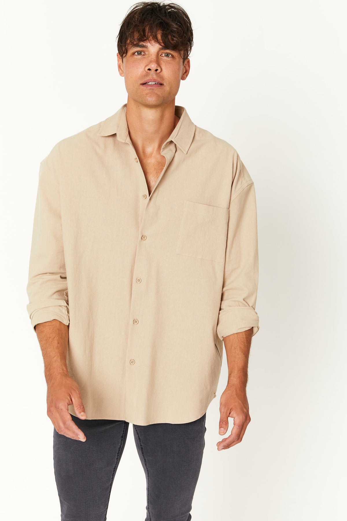 Oversize Soft Cotton Shirt Stone