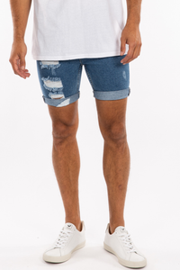 Noah Cuff Denim Short Blue