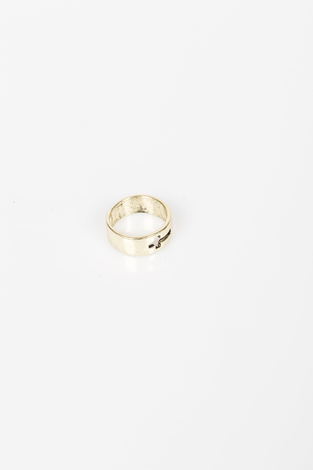 Burnished Cross Band Ring Vintage Gold