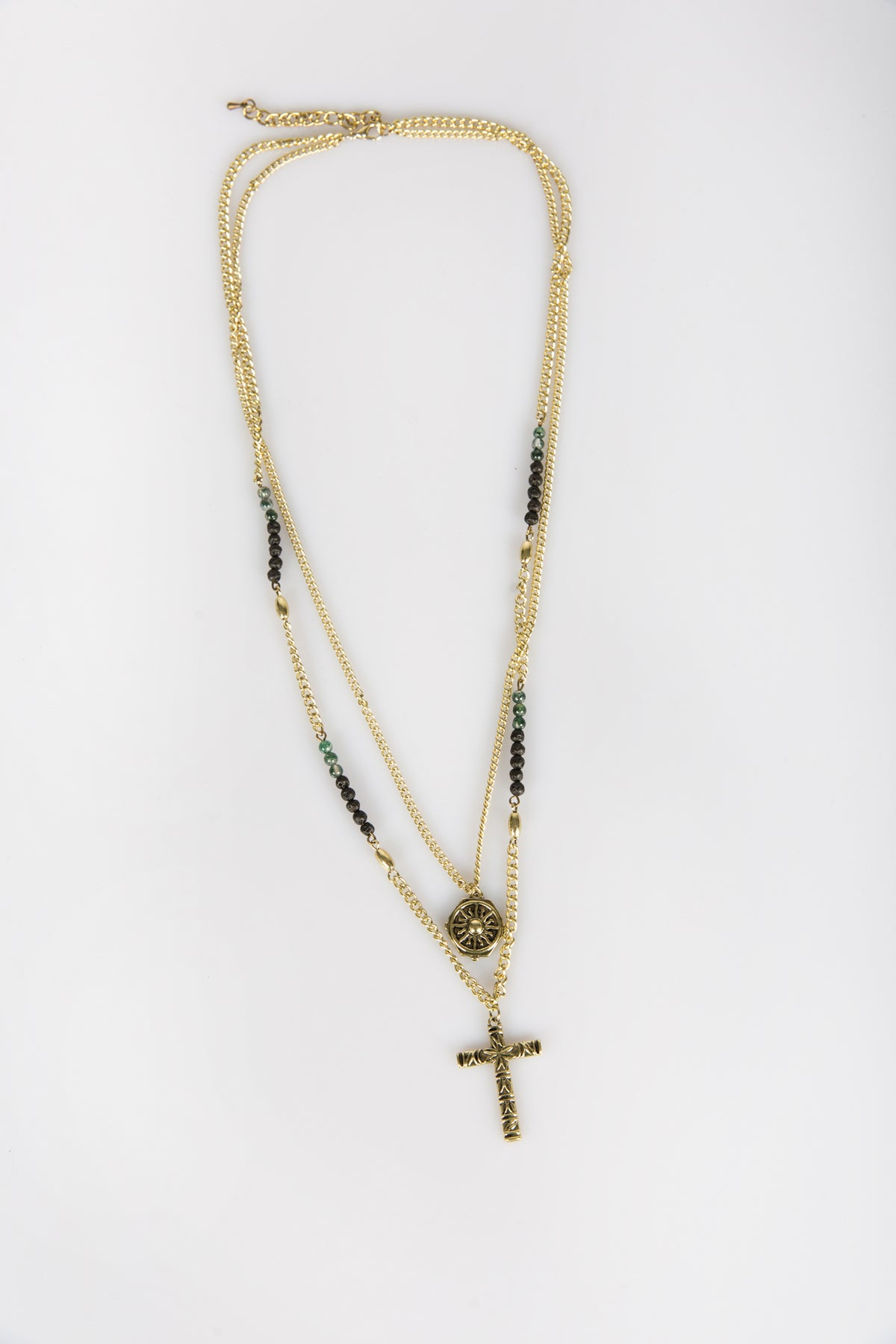 Nth Layered Cross Pendant Vintage Gold