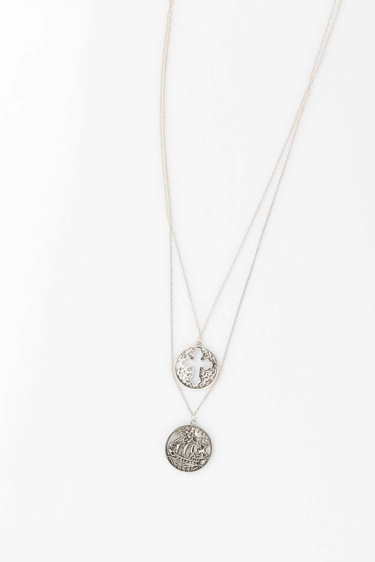 Nth Pendant Double Layer Necklace Antique Silver