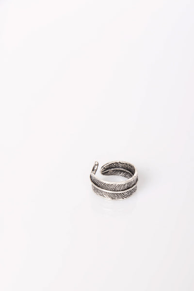 Nth Feather Wrap Ring Antique Silver