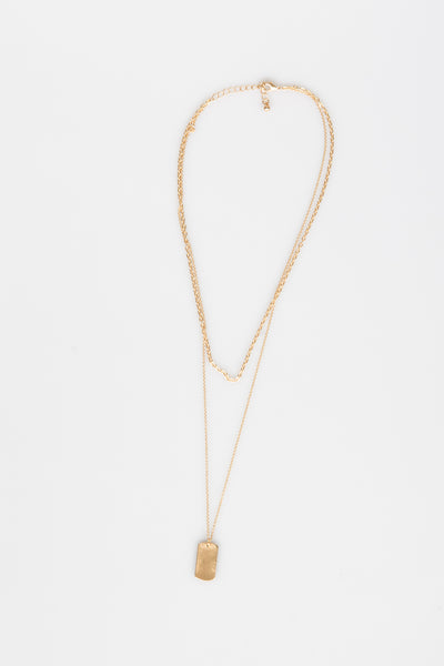 NTH Layered Tag Necklace Matte Gold