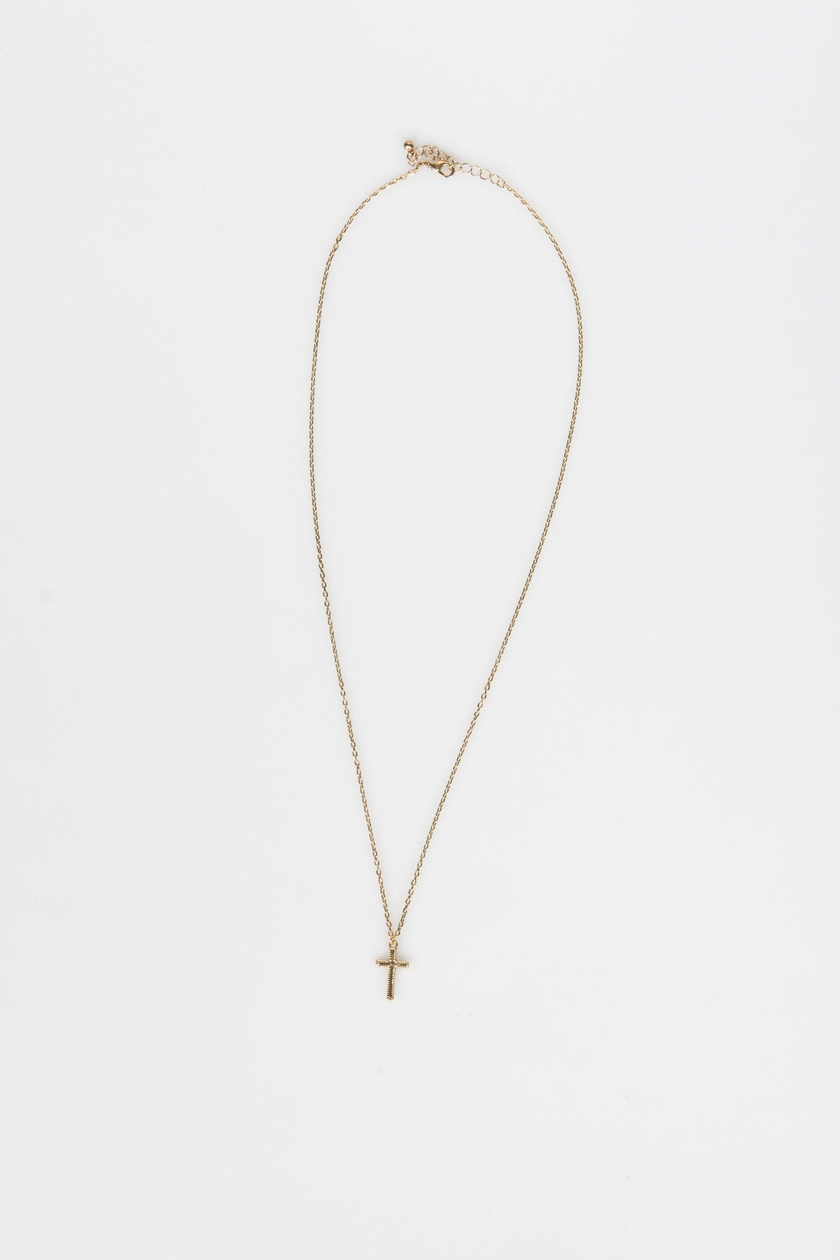 Nth Long Cross Necklace Antique Gold