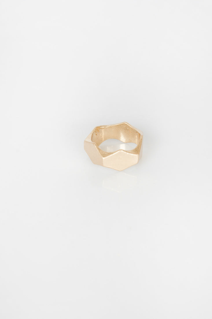 Nth Hexagon Ring Matte Gold NTH20181226-1-MatteGold