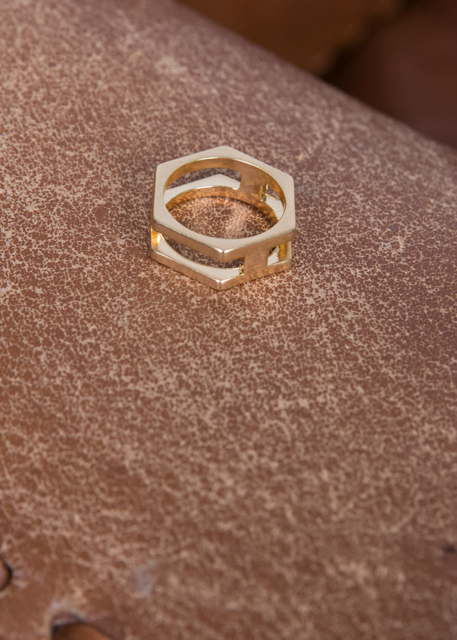 Double Hex Ring Gold