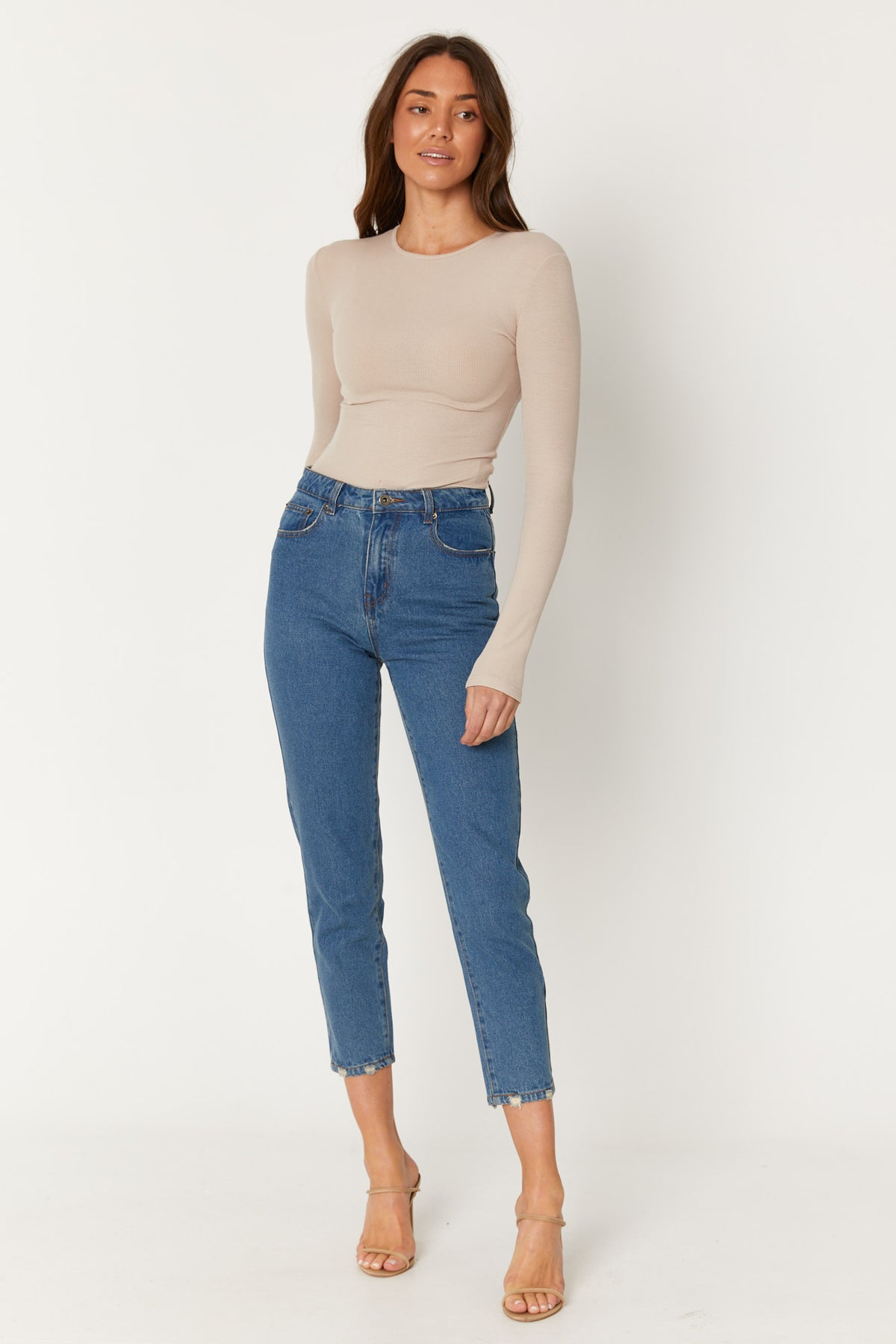 Celeste Mom Jean Mid Blue