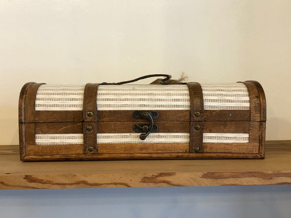 1-Bottle Vintage Striped Trunk Wine Box