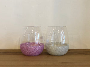 Glitter Silicone Wrapped Stemless Wine Glasses