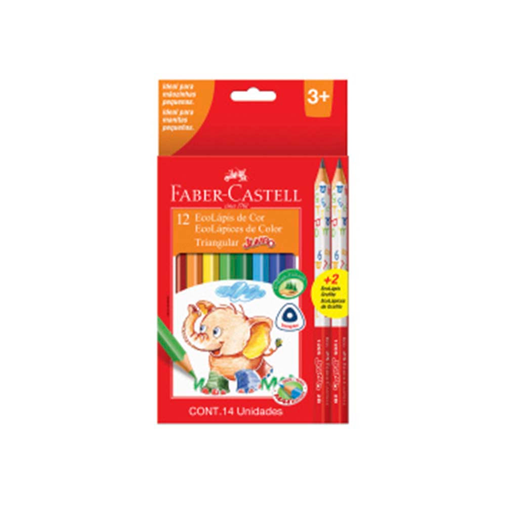 Set ecolapices 12 colores jumbo + 02 grafitos jumbo