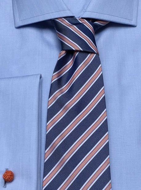 Krawatte: Krawatte mit Streifen in blau/orange | John Crocket – Fine British Clothing