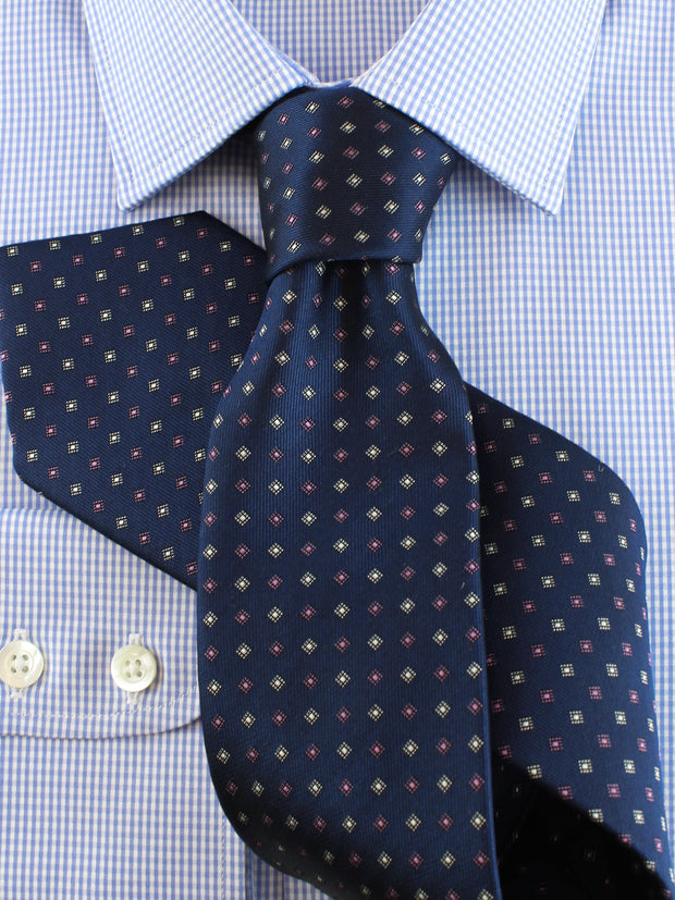 Krawatte: Krawatte gemustert in navy | John Crocket – Fine British Clothing