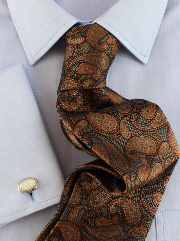 Krawatte: Krawatte mit Paisley in orange/oliv | John Crocket – Fine British Clothing