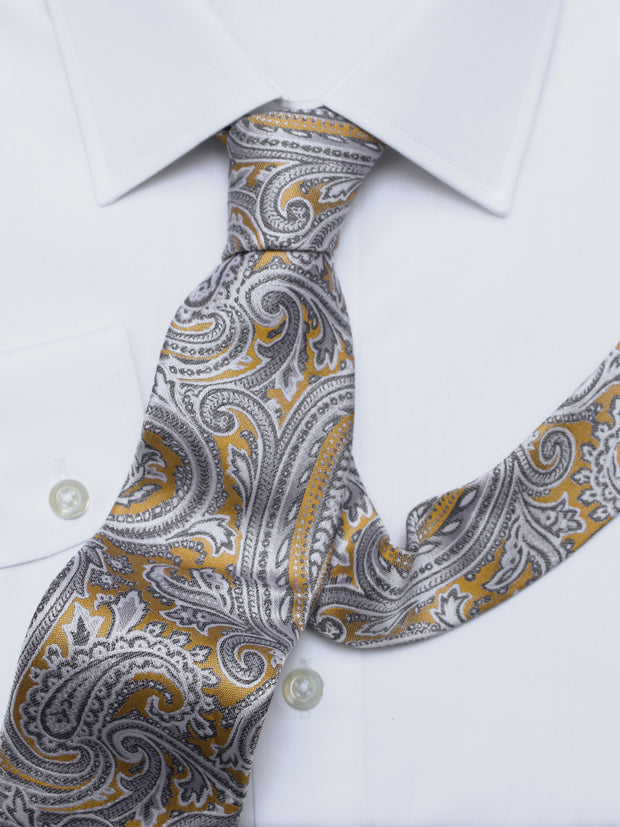 Krawatte: Krawatte mit Paisley in gelb | John Crocket – Fine British Clothing