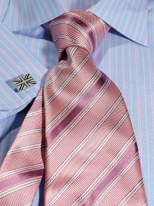 Hemd: Hemd in Classic mit Windsor Kragen in blau/rosa gestreift | John Crocket – Fine British Clothing