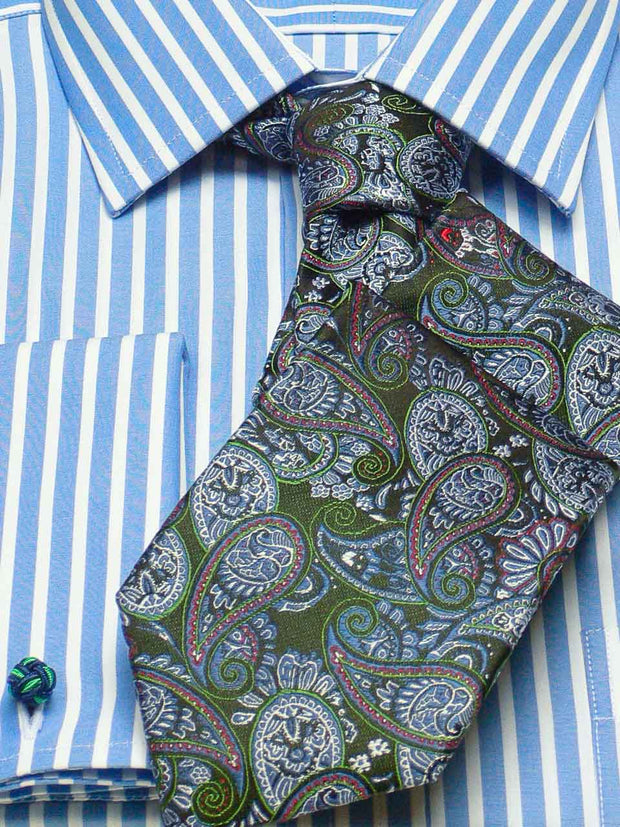 Hemd: Hemd mit Classic Kent Kragen in blau gestreift | John Crocket – Fine British Clothing