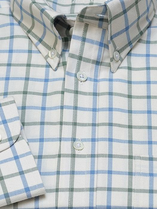 Hemd: Hemd mit Classic Button Down Kragen in blau/grün kariert | John Crocket – Fine British Clothing