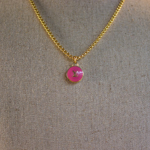 "Repurposed Pink Louis Vuitton ""LV"" Charm Necklace"