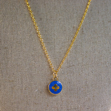 Load image into Gallery viewer, Repurposed Blue Louis Vuitton Flower Charm Necklace