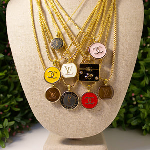 Repurposed Yellow Chanel Button Necklace