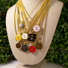 Load image into Gallery viewer, Repurposed Brown Round Louis Vuitton Button Necklace