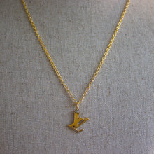 "Load image into Gallery viewer, Repurposed Gold Louis Vuitton ""LV"" Charm Necklace"