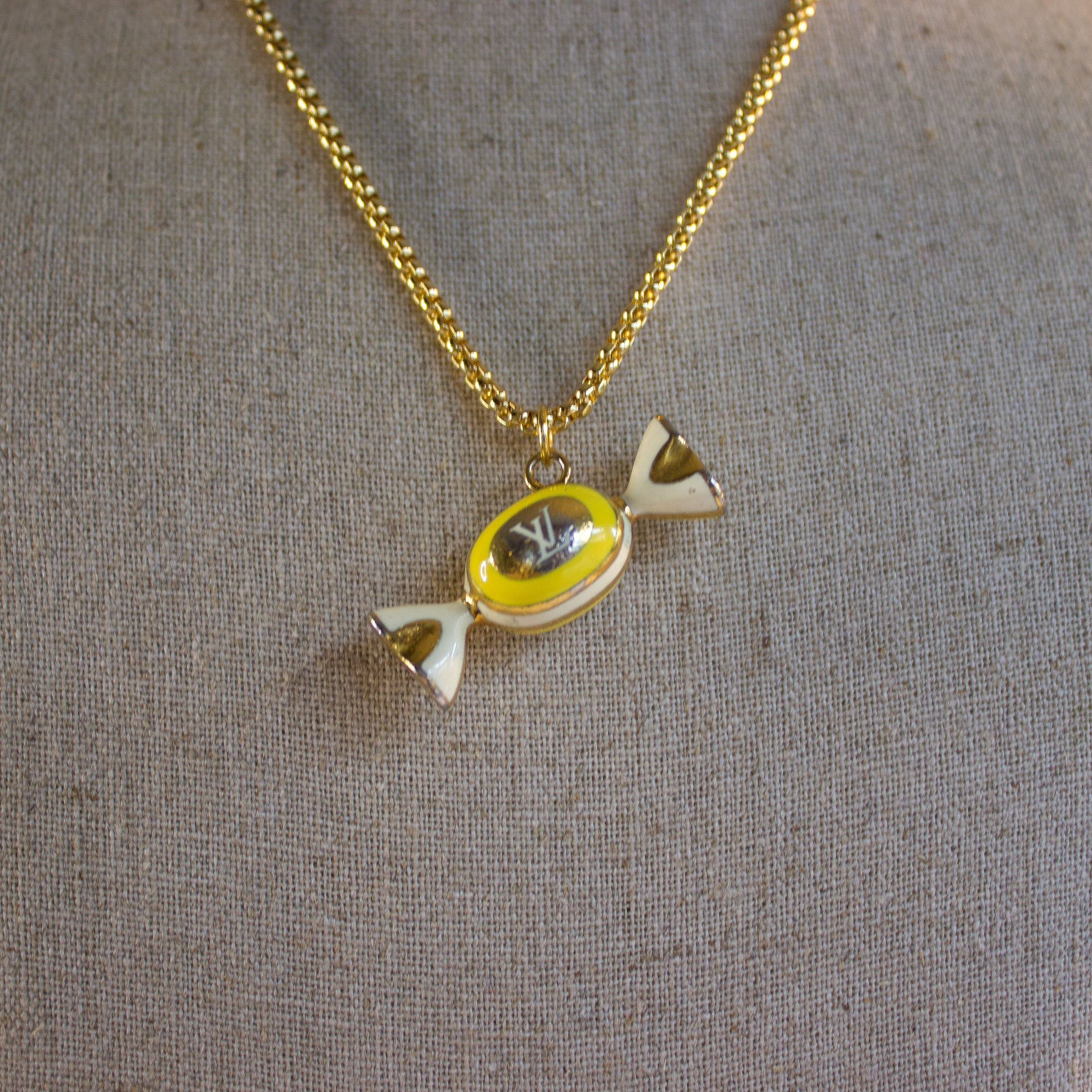 Repurposed Yellow Louis Vuitton Candy Charm Necklace