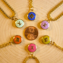 "Load image into Gallery viewer, Repurposed Pink Louis Vuitton ""LV"" Charm Necklace"