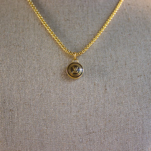 "Repurposed Brown Louis Vuitton ""LV"" Charm Necklace"